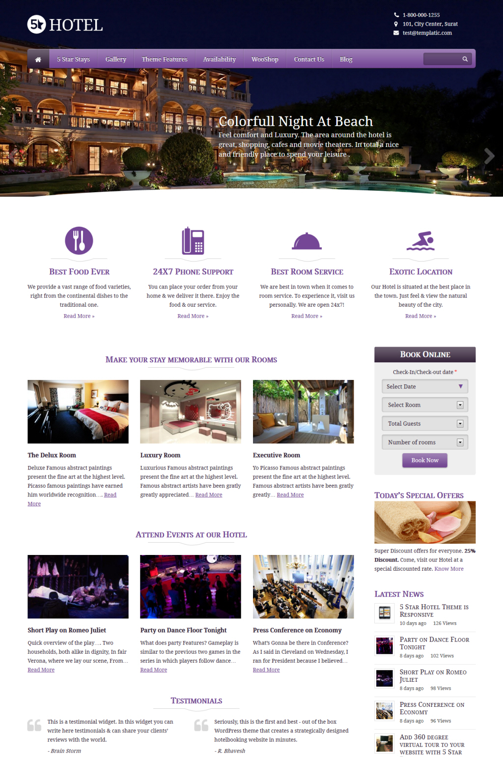 25 best wordpress hotel themes premium themes plugins for Site reserver hotel