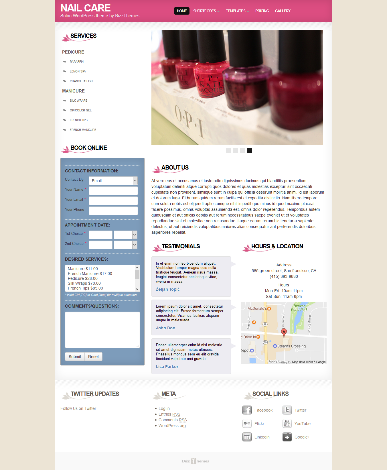 Nail Care Salon theme